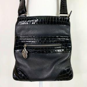 Brighton Crossbody Messenger Bag Purse Black Croc